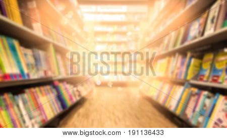 Abstract blurred many books at bookstore background