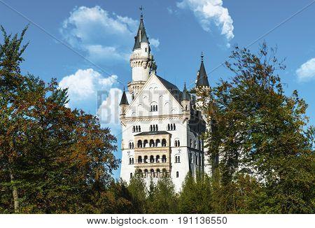 Neuschwanstein castle on a sunny day. Bavaria, Germany