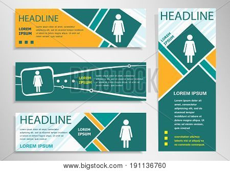 Woman Icon On Horizontal And Vertical Discount Banner, Header
