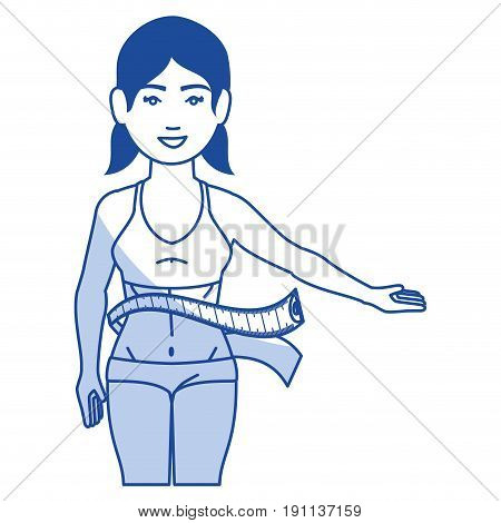 woman with tape measure vector illustration design