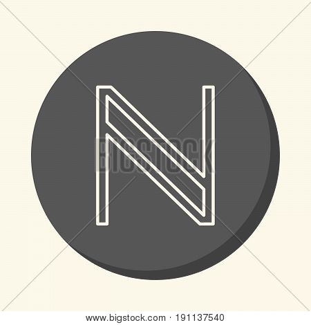 Symbol of digital cryptocurrency Namecoin vector round linear icon with the illusion of volume