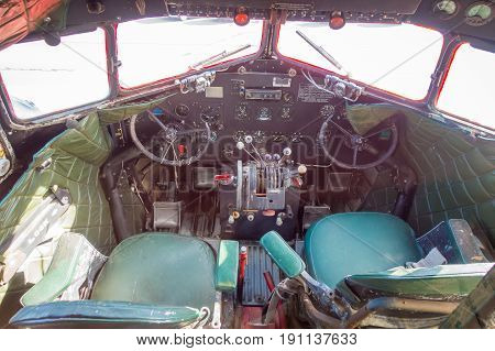 NORTH ISLAND, NEW ZEALAND- MAY 18, 2017: Interior view of the Cockpit from the amazing DC3 plane as part of the McDonald's located at Taupo, New Zealand, and it is 10 coolest McDonald's around the world list.