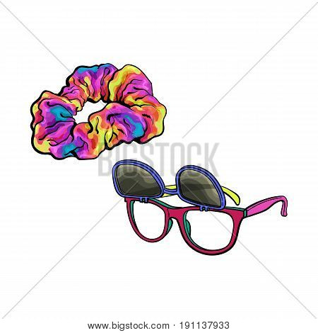 Personal items from 90s - wayfarer sunglasses with removable lenses and scrunchie hair tie, sketch vector illustration isolated on white background. Retro sunglasses and fabric covered hair band