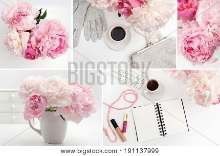 Office desk table with computer, cup of coffee and peony flowers. Top view, flat lay. Set of photos