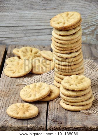 Dietary Prolonged Dry Cookies Stacked On Wooden Background
