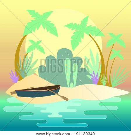 Summer seascape. Small island of jungle, palm trees, boat with oars on the shore. Vector illustration boat on the shore. Evening sunset  ocean. Fairytale summer time.