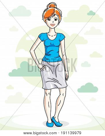 Happy pretty young red-haired woman standing on nature backdrop with blue sky and clouds. Vector character.