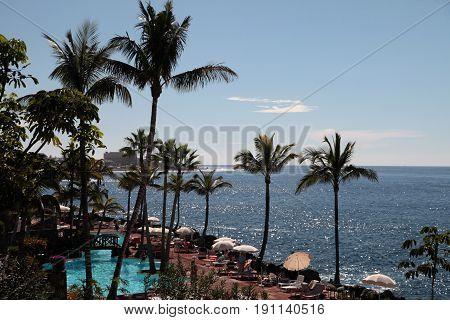 View on Las Cuevitas in Costa Adeje cost Tenerife Spain.
