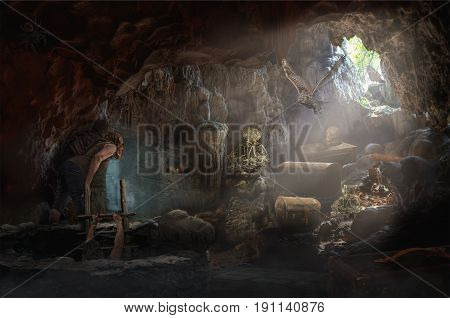 Explorers in a fabulous cave with treasures