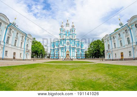 Smolny Cathedral And The Lawn In Front Of Him Square In St. Petersburg.