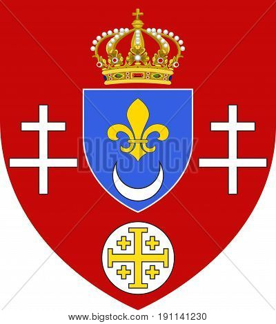 Coat of arms of Calais is a town and major ferry port in northern France in the department of Pas-de-Calais. Vector illustration