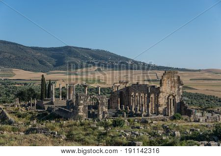 View Of The Basilica And Capitoline Temple, Archaeological Site Of Volubilis, Ancient Roman Empire C