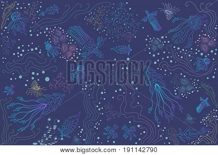 Vector bright beautiful illustration of fantastic ocean creatures jellyfish octopus corals algae rainbow with various colors and shades of blue turquoise blue violet emerald color