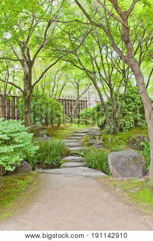 HIMEJI JAPAN - MAY 16 2017: Paths of Kokoen Garden near Himeji castle Japan. Garden was laid out in 1992 to commemorate 100 anniversary of Himeji city