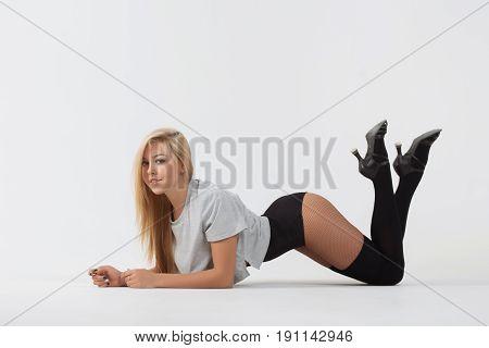 Young girl doing gymnastic exercises isolated. Girl gymnast.