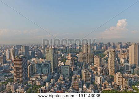 TOKYO JAPAN - MAY 18 2017: Bird view of Akasaka district from Ritz Carlton Hotel tower. Akasaka is a residential and commercial district of Minato Tokyo Japan located west of the government center