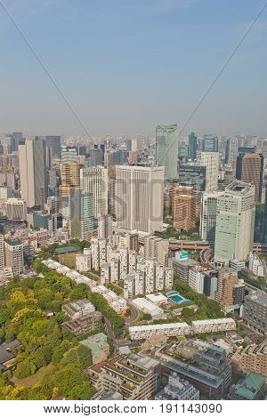 TOKYO JAPAN - MAY 21 2017: Bird view of Akasaka district from Ritz Carlton Hotel tower. Akasaka is a residential and commercial district of Minato Tokyo Japan located west of the government center