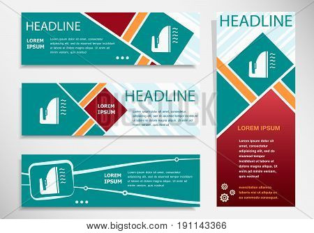 Iron Icon On Horizontal And Vertical Banner