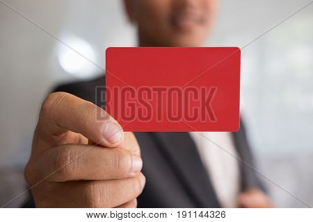 Business Man Holding A Credit Card For Online Shopping, Purchase Goods From Internet, Make Payment O