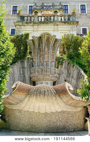 Nice fountain shaped like a shell in Tivoli Italy