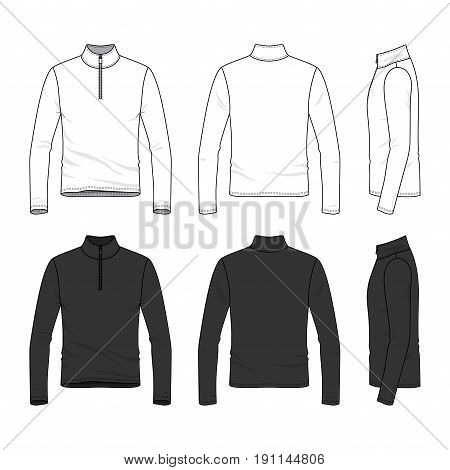 Front, back and side views of long sleeved t-shirt with zipper. Clothing set in white and black colors. Blank vector templates. Fashion illustration. Isolated on white background.