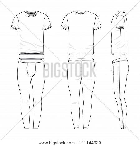 Front, back and side views of t-shirt and training tights. Blank vector templates. Clothing set. Sportswear. Fashion illustration. Isolated on white background.