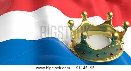 Golden Crown On Netherlands Flag.3D Illustration