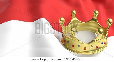 Golden Crown On Monaco Flag.3D Illustration