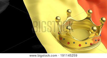 Golden Crown On Belgium Flag.3D Illustration