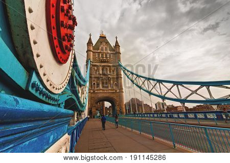 Tower Bridge walkway over Thames river in London