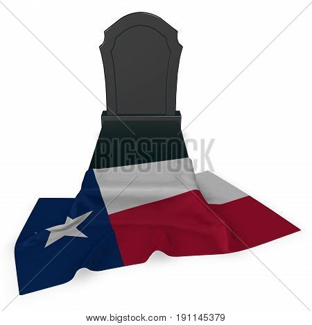 gravestone and flag of texas - 3d rendering