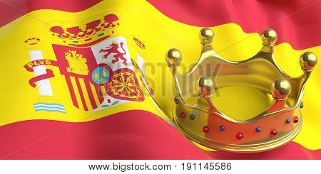 Monarchy of Spain. Golden crown on Spain flag background. 3d illustration