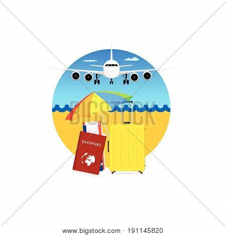Travel Symbol With Yellow Suitcase And Passport Illustration
