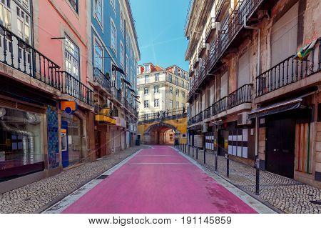 Pedestrian Pink street Rua Nova do Carvalho. Lisbon, Portugal.