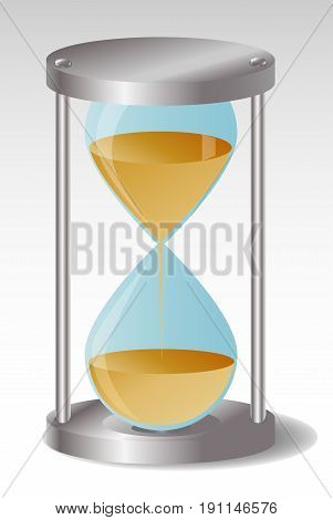 Glass Hourglass with metal hats A third of the sand flowed out