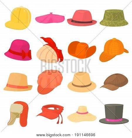 Hat types icons set headdress. Cartoon illustration of 16 hat types headdress vector icons for web