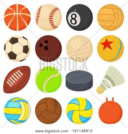 Sport balls icons set play types. Cartoon illustration of 16 sport balls play types vector icons for web