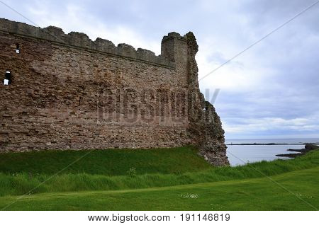 The ruins of Tantallon Castle in  Scotland.