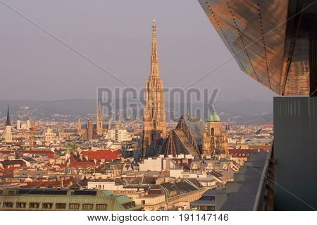 VIENNA, AUSTRIA - APR 29th, 2017: Beautiful view of famous St. Stephen's Cathedral Wiener Stephansdom at Stephansplatz in the early morning from a near by Hotel, aerial view.
