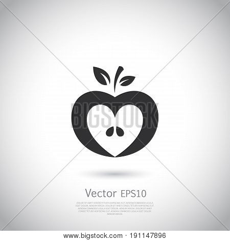 Heart shaped apple vector logo, label, icon. Negative space. Vector illustration on gray background.