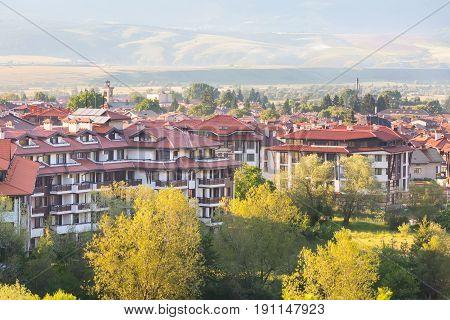 Summer town panorama of bulgarian all season resort Bansko, Bulgaria