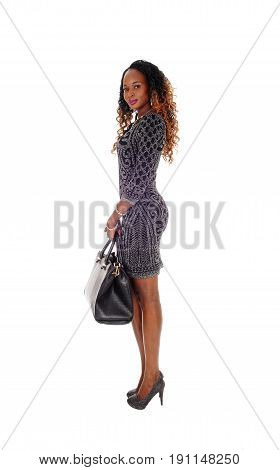 A gorgeous African American woman standing in a short gray dress holding her handbag isolated for white background.