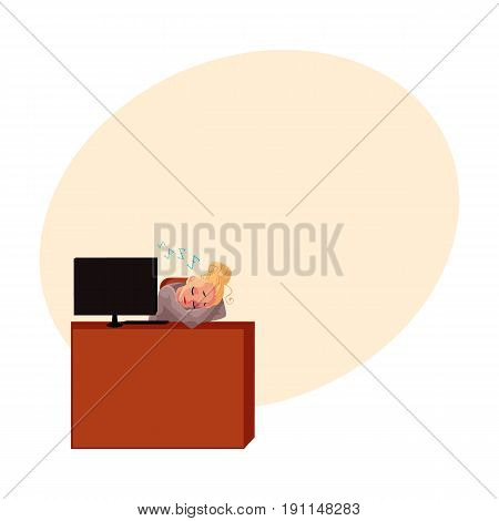 Young pretty blond businesswoman, secretary, sleeping, snoozing at office desk, cartoon vector illustration with space for text. Businesswoman, secretary, office manager snoozing at computer