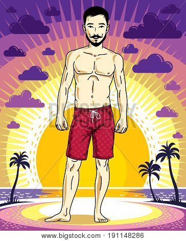 Handsome brunet man with beard and whiskers poses in shorts on background of sunset landscape with palms. Vector character. Summer holidays theme.