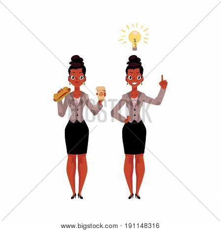 Black, African American businesswoman eats sandwich and coffee, gets idea, business insight, cartoon vector illustration isolated on white background. Black businesswoman gets lunch, has business idea