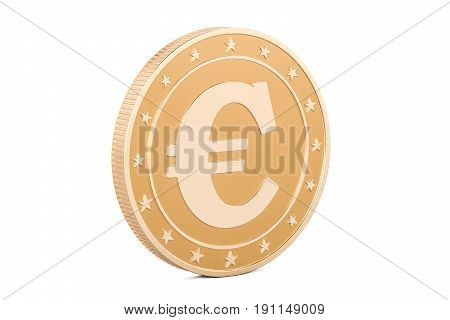 Golden Euro coin 3D rendering isolated on white background