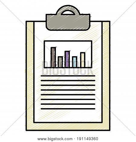 clipboard paper with statistics vector illustration design