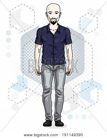 Confident handsome hairless young man standing. Vector illustration of male with beard and whiskers wearing casual clothes jeans pants.