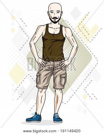 Confident athletic handsome hairless young man standing. Vector illustration of male wearing casual clothes jeans shorts and singlet.