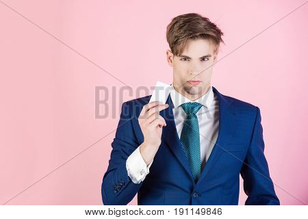 Businessman Hold Credit Or Business Card, Business Etiquette And Ethics